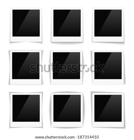 Striped photo frames with different shadows, vector eps10 illustration - stock vector