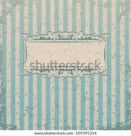 Striped retro background with floral decor and place for you text - stock vector