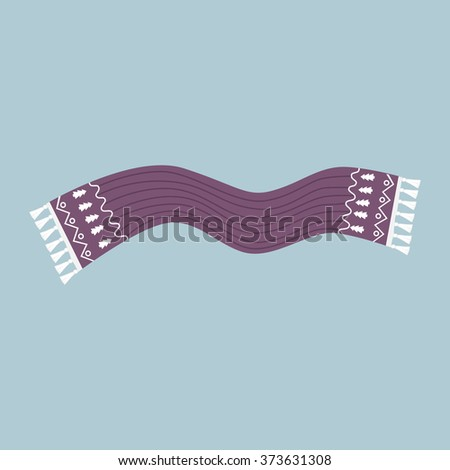 Striped scarf isolated icon. Striped scarf isolated. Striped scarf. Scarves icon. Scarf icon. Winter scarf. Cartoon striped scarf. Vector illustration - stock vector