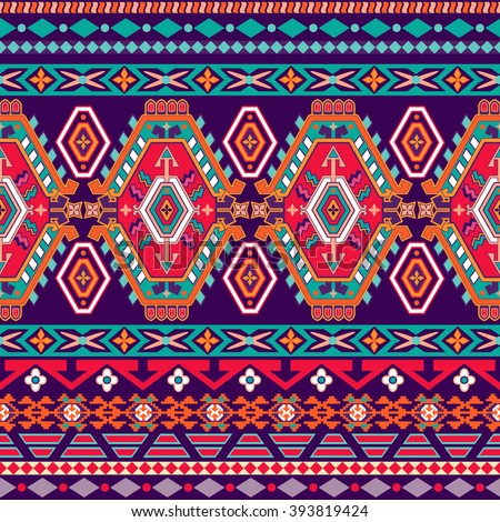 Striped seamless pattern. Colorful aztec wallpaper. Tribal Navajo backdrop.  - stock vector