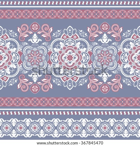 Striped seamless pattern. Floral wallpaper - stock vector