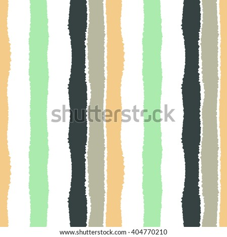 Striped seamless pattern. Vertical wide lines with torn paper effect. Shred edge band background. Green, white, orange, white contrast colors. Vector