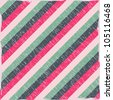 Striped Seamless Pattern with Colorful Diagonal Lines. Vector Illustration - stock photo