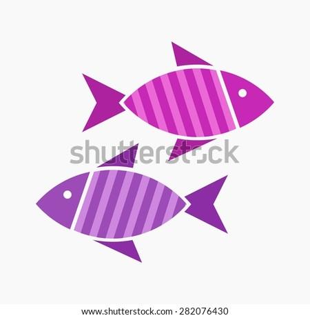 Striped symbolic fish. Vector illustration - stock vector