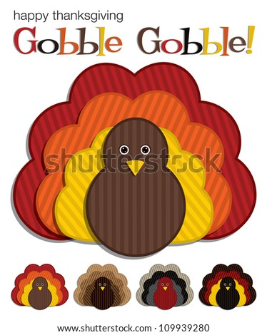 Striped Turkey stickers in vector format. - stock vector