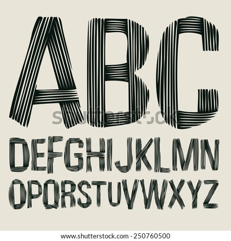 striped type font, vintage typography vector - stock vector