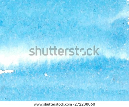 Striped watercolor macro paper texture hand drawn blue water background. Vector abstract wet brush strokes painted illustration. Sea wallpaper. Design card for decor, scrapbook, banner, poster, print - stock vector