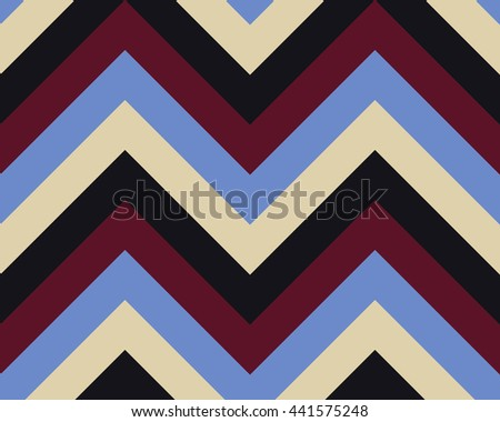 Striped, zigzagging seamless pattern. Zig-zag line texture. Stripy geometric background. Blue, brown, beige, vinous contrast colored. Vector - stock vector