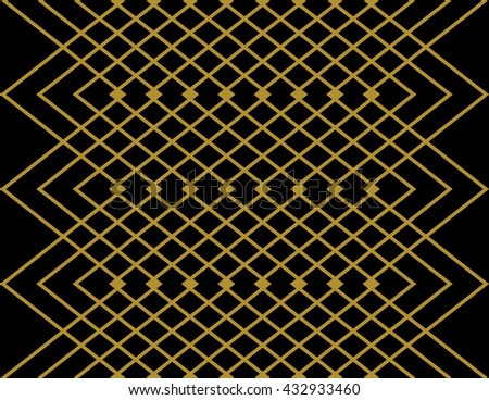 Stripes And Zig Zag Aztec Pattern Wallpaper Design In Gold Black Seamless Vector