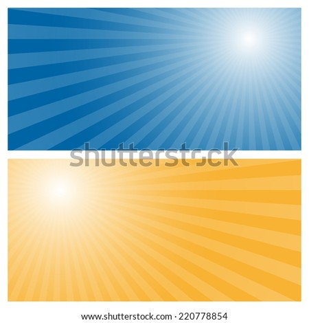 Stripes background with blue and orange center - stock vector