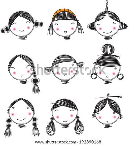 Stripes illustration cartoon girl vector face - stock vector