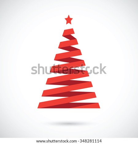 stripped abstract christmas tree - stock vector