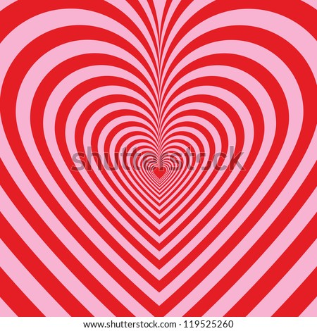 Stripped background with hearts - stock vector