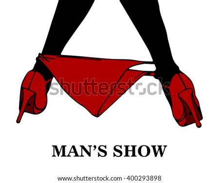 Striptease show sign, vector - stock vector