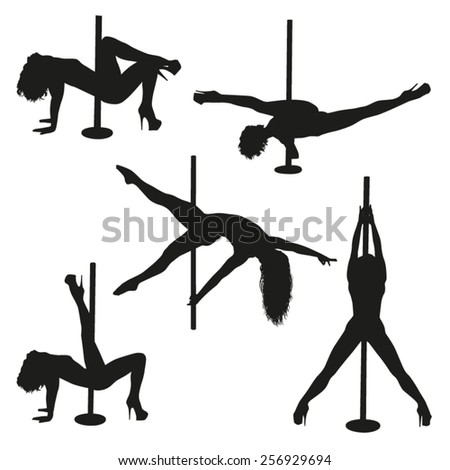Striptease silhouettes - stock vector