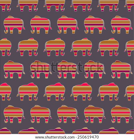 Stripy Elephants, seamless repeating pattern - stock vector