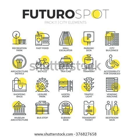 Stroke line icons set of city travel elements, road sign for transportation. Modern flat linear pictogram concept. Premium quality outline symbol collection. Simple vector material design, web graphic - stock vector