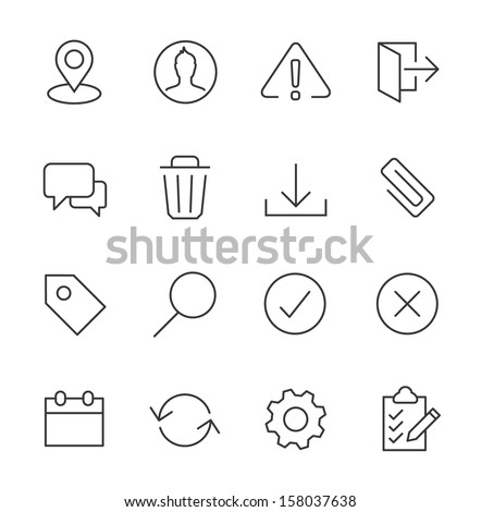 Stroked interface icon set. - stock vector