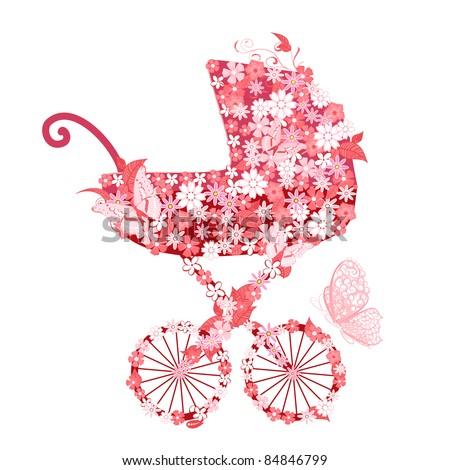 Stroller of flowers for girls - stock vector