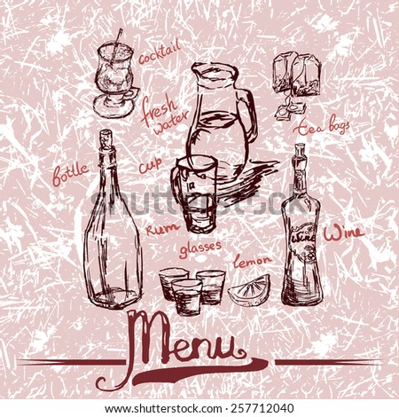 strong alcoholic drink. Beverage sketch hand drawn set with hand written names: fresh water, rum bottle, wine glass bottle, tea bags, lemon and glass tea cup,cocktail. Vector illustration. - stock vector