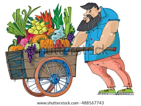 Strong Bearded Vendor Pushing Cart Full Stock Vector ...