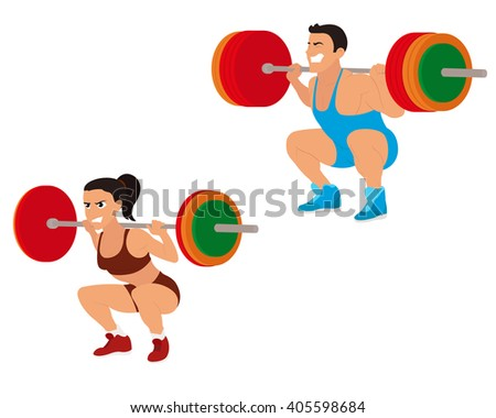 Strong beautiful man and woman engaged in weightlifting. vector - stock vector