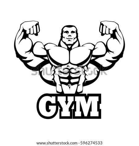 Strong Bodybuilder Huge Biceps Gym Logo Design Black Contour Outline On White Background