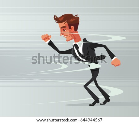 Strong brave businessman office worker character go against wind. Vector flat cartoon illustration