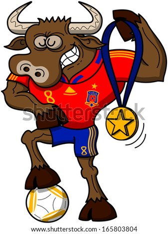 Strong bull wearing a red shirt and blue shorts, grinning and posing proudly while showing a gold medal with a star and stepping on a soccer ball