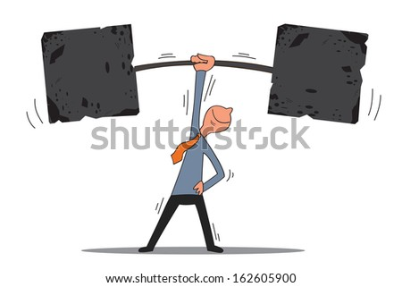 Strong business man can lift weights with one hand, representing to be able to achievement, successful or reaching goal. Business concept.  - stock vector