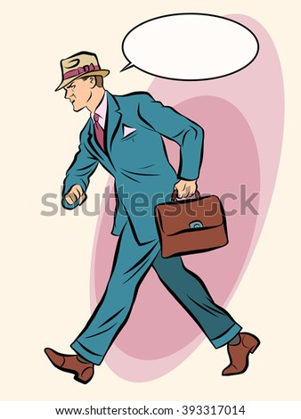 Strong businessman goes forward - stock vector