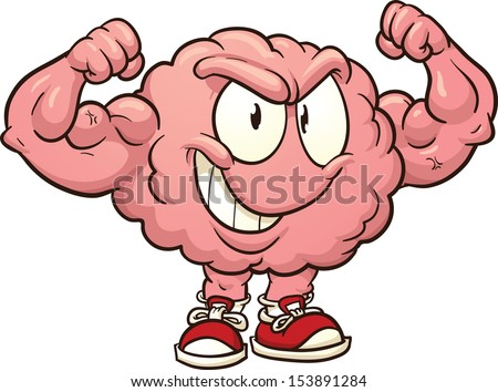 Strong cartoon brain. Vector clip art illustration with simple gradients. All in a single layer.