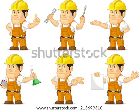 Strong Construction Worker Mascot 2 - stock vector