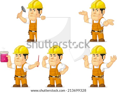 Strong Construction Worker Mascot 4 - stock vector