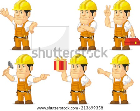 Strong Construction Worker Mascot 10 - stock vector