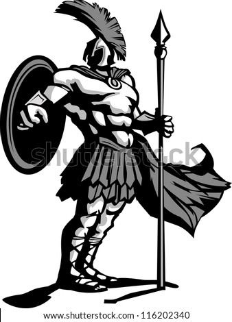 Strong Greek Spartan or Trojan Soldier holding a spear and sword - stock vector