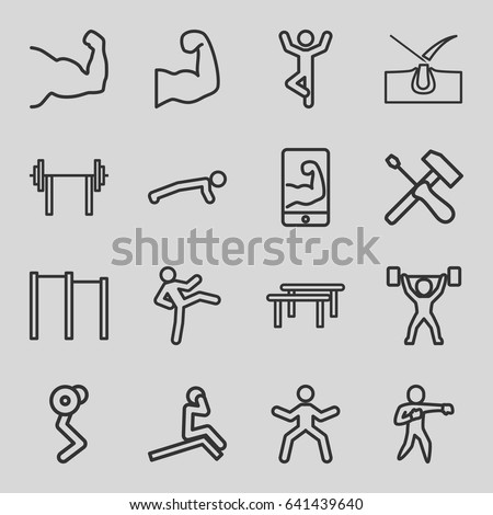 Strong icons set. set of 16 strong outline icons such as shave hair in skin, karate, muscular arm  on phone, muscular arm, power lifter, screwdriver, horizontal bar