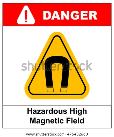 strong magnetic field vector warning sign sticker label danger for public places yellow triangle