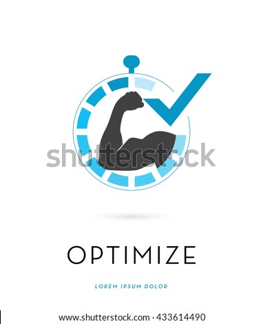 STRONG MAN'S BICEPS SILHOUETTE , INSIDE A STOPWATCH INCORPORATED WITH A CHECK MARK , VECTOR LOGO / ICON , ISOLATED ON WHITE BACKGROUND - stock vector
