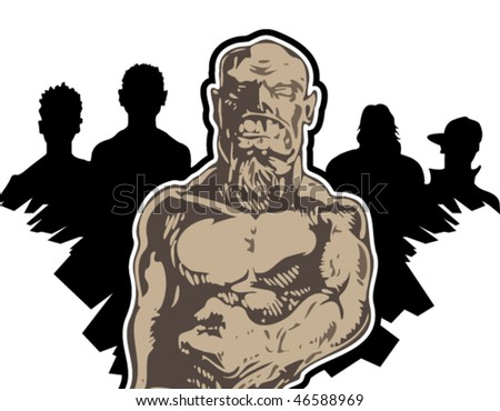 Strong muscle man - stock vector