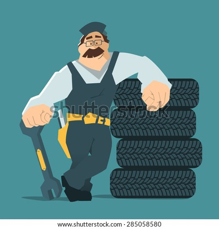 Strong smile man holding wrench and leaning on a stack of wheel. Car tire tyre service illustration.