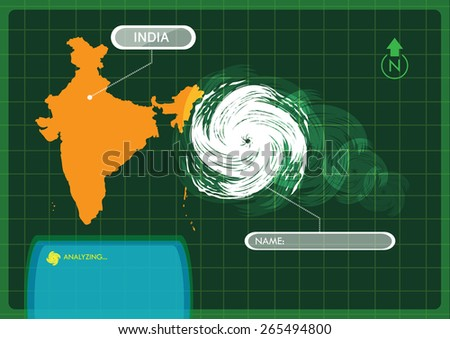 Strong Storm Approaches India Inland seen via satellite view of weather forecasting computer concept. Editable EPS10 vector and jpg Illustration. - stock vector