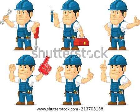 Strong Technician Mascot 6 - stock vector