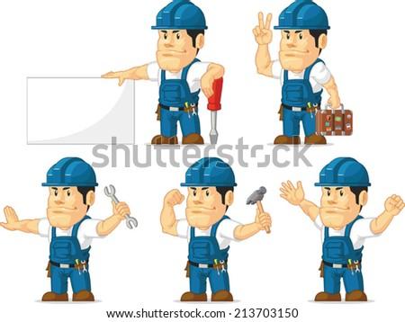 Strong Technician Mascot - stock vector