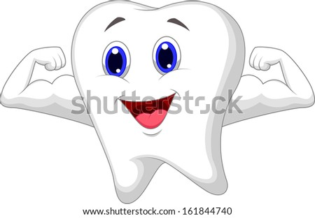 Strong tooth character - stock vector