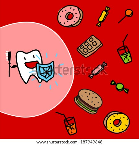 Strong tooth with a shield - stock vector