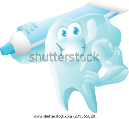 Strong tooth with toothpaste - stock vector