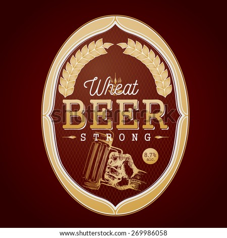 Strong wheat beer label, decorated with a drawing of a hand holding a beer glass, on a diamond background pattern - stock vector