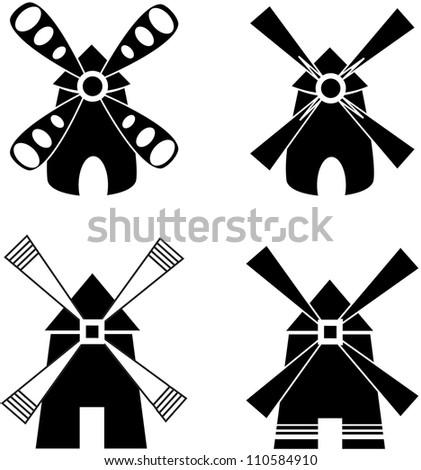 Strong windmill. Company logo design. - stock vector