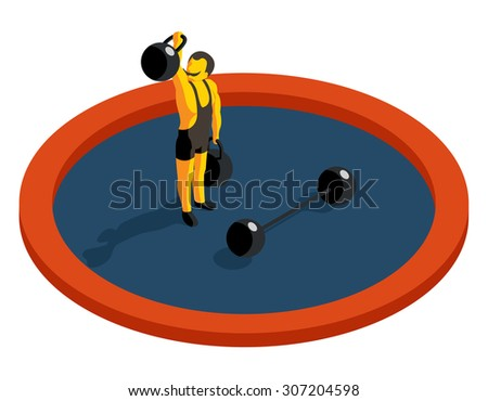 Strongman lifting weight. Flat 3d isometric vector. Strength muscular, sport and barbell, artist man, weightlifting athlete illustration - stock vector